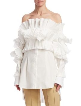 Ruffled Off Shoulder Blouse by Rosie Assoulin