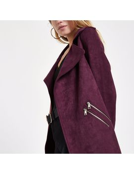 Dark Red Faux Suede Longline Trench Jacket by River Island