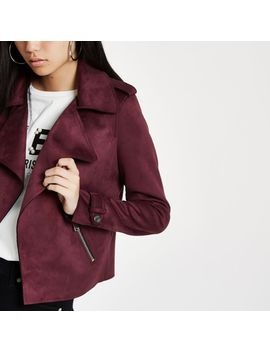 Dark Red Faux Suede Cropped Trench Jacket by River Island