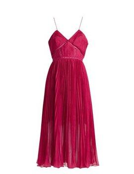 Pleated Crepe Midi Dress by Self Portrait