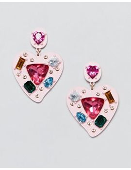 Asos Design Earrings In Heart Shape With Multicolor Jewels In Pink by Asos Design