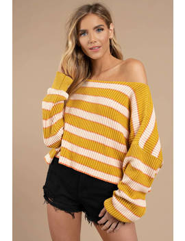 Free People Just My Stripe Yellow Multi Pullover Top by Tobi