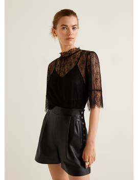 Short Taille Haute Cuir by Mango