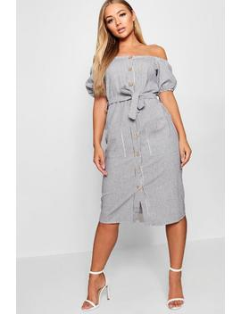 Square Neck Puff Sleeve Striped Midi Dress by Boohoo