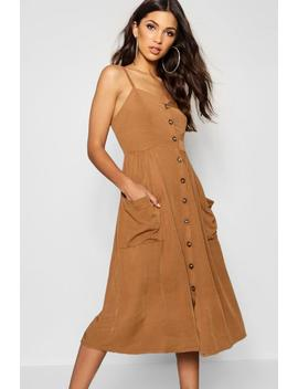 Button Front Pocket Detail Midaxi Dress by Boohoo
