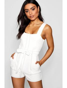 Top Stitch Square Neck Pocket Playsuit by Boohoo