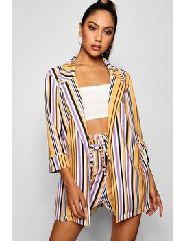 Daisy Stripe Collared Longline Blazer by Boohoo