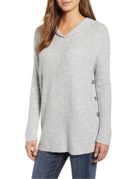 Side Button Hooded Sweater by Caslon®