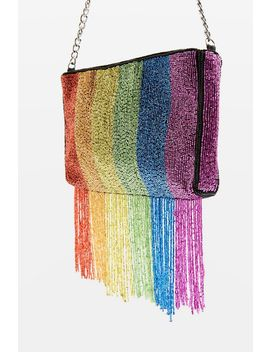 Rainbow Beaded Cross Body Bag by Topshop