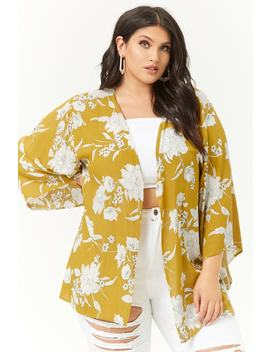Plus Size Crinkled Floral Open Front Kimono by Forever 21