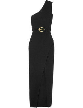One Shoulder Wrap Effect Crepe Maxi Dress by Balmain