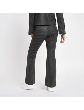Grey Pinstripe Knit Trousers by River Island