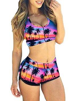 Top Here Women's Bandage Sporty Bathing Suit Boyleg Short Bikini Swimsuit by Top Here
