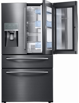 Showcase 27.8 Cu. Ft. 4 Door French Door Refrigerator   Black Stainless Steel by Samsung