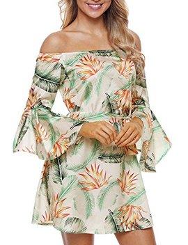 Elapsy Womens Off Shoulder Bell Sleeve Club Palm Leaf Print Boho Short Dress by Elapsy