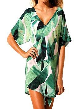 Shawhuwa Womens Printed V Neck Loose Short Dress Knot Beach Cover Up by Shawhuwa
