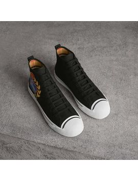 Archive Logo Cotton Gabardine High Top Sneakers by Burberry