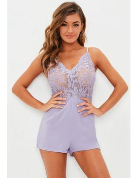 Strappy Lace V Front Playsuit White by Missguided