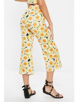 Yellow Sunflower Print Kickflare Trousers by Missguided