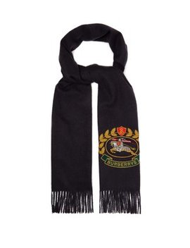 Crest Embroidered Cashmere Scarf by Burberry