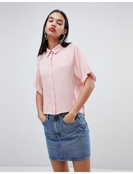 Weekday Oversized Collar Shirt In Pale Pink by Weekday