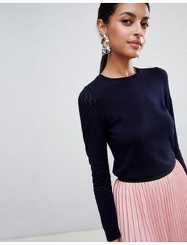 Warehouse Pointelle Stitch Jumper by Warehouse