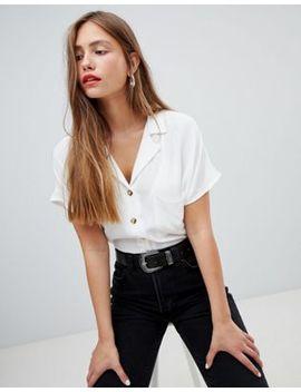 Bershka Pocket Detail Shirt In White by Bershka