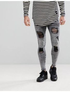 Sik Silk Super Skinny Fit Jeans In Acid Black With Distressing by Sik Silk