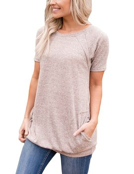 Hotapei Women Casual Short Sleeve Round Neck Pockets Tunics Loose T Shirt Blouses Tops by Hotapei