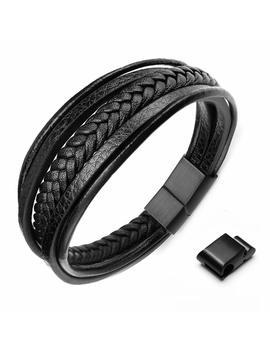 Okaler Mens Genuine Leather Multilayer Bracelet Cowhide Leather Braided Bracelet Rope Bracelet 8'' 8.5'' by Okaler