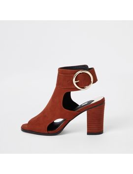 Rust Suede Sling Back Buckle Shoe Boots by River Island
