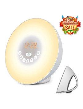 Sunrise Alarm Clock, Wake Up Light With 6 Nature Sounds, Fm Radio, Color Light, Bedside Sunrise Simulator (White) by Az Deal