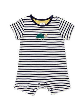 John Lewis Baby Gots Organic Cotton Turtle Stripe Romper, Navy by John Lewis