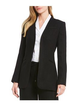 Stretch Tweed Suiting Open Front Long Jacket by Generic