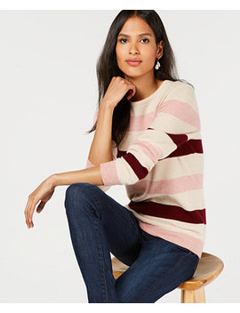 Pure Cashmere Striped Crewneck Sweater, Created For Macy's by Charter Club