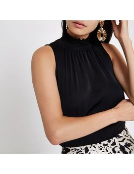 Black Shirred High Neck Sleeveless Top by River Island