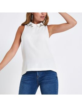 Petite Cream Embellished Collar Top by River Island