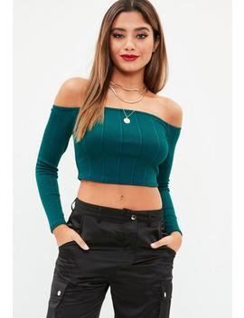 Green Ribbed Long Sleeve Bardot Top by Missguided