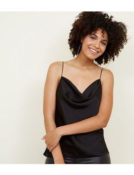 Black Satin Cowl Neck Cami by New Look