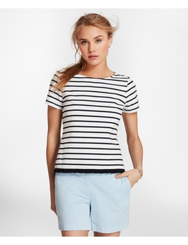 Fringe Hem Striped Stretch Cotton Jersey T Shirt by Brooks Brothers