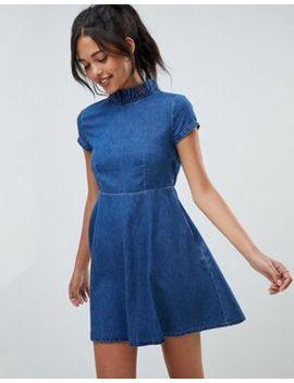 Asos Design Denim Smock Dress With Ruffle Neck by Asos Design