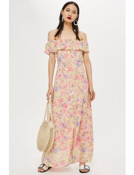 Tall Floral Bardot Maxi Dress by Topshop