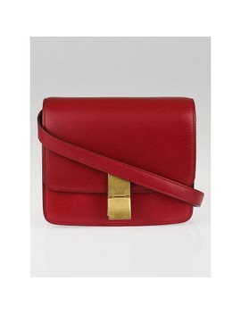 Red Calf Leather Small Classic Box Bag by Celine