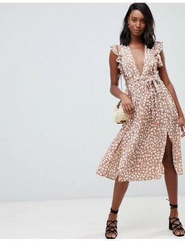 Glamorous Tall Sleeveless Midi Dress With Flutter Sleeves In Smudge Polka Dot by Glamorous Tall