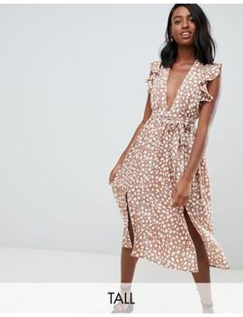 Glamorous Tall Sleeveless Midi Dress With Flutter Sleeves In Smudge Polka Dot by Asos Us