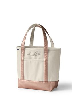 Medium Natural Rose Gold Open Top Canvas Tote Bag by Lands' End