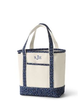 Medium Print Handle Open Top Canvas Tote Bag by Lands' End