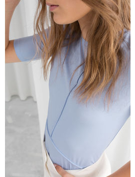 Block Seam Mock Neck Top by & Other Stories