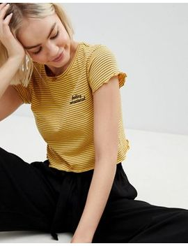 Pull&Bear 'feeling Emotional' Logo Crop Top In Yellow by Pull&Bear