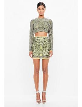 Peace + Love Lime Embellished Stud Mesh Mini Skirt by Missguided